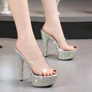 Women's Heel Transparent Slipper Glitter Sandals Sexy Party Nightclub Home Summe