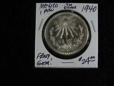 MEXICO 1940 .720 SILVER UN PESO SUPER NICE FROSTY LUSTER GEM!