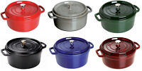 Staub Cast Iron 7-qt Round Cocotte Cooking Pot - 6 COLORS CHOICE NEW