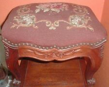 Antique Queen Anne Style Mahogany Wood Needlepoint Upholstered Bench Stool