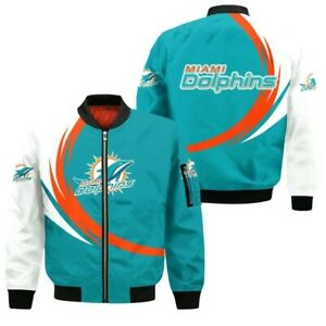 Miami Dolphins Mens Pilot Bomber Jacket Flying Tigers Flight Thicken Coat Gifts