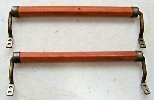 Pair (2) Antique Wooden & Metal Washcloth Hand Towel Bar Rack Holder