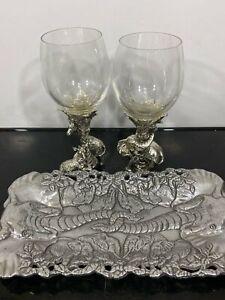 ARTHUR COURT Aluminum Elephant Wine Glass Goblets & Serving Tray