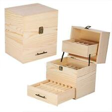 3 Layers Essential Oil Bottles Storage Box Polishing Wood Case Organizer UK Sale