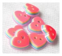 LOT 6 BOUTONS EN RESINE COEUR ROSE FUCHSIA MULTICOLORE SCRAPBOOKING COUTURE 11mm