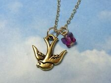 Sparrow Necklace- 22k Gold pl. Bird, Pink Crystal Butterfly, 14k gold fill chain