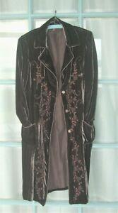 WRAP London Beautiful Silk Velvet Coat 12 Embroidered front, mink/dark brown