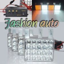 4 x 20 AmberWhite LED 3 Modes Deck Dash Grille Hazard Flashing Strobe Lamps