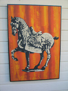 Tang Horse Batik Mid Century Modern Framed  Chinese Fabric Textile Orange Flame