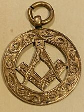 Masonic Antique 9ct Gold Pendant / Albert Chain Watch Fob 2.5g