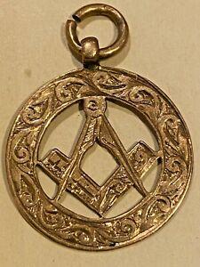 Masonic Antique 9ct Gold Pendant / Albert Chain Watch Fob 2.5g