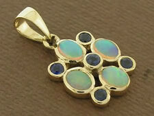 PE070- Exquisite Genuine 9ct Solid Gold Natural Opal & Sapphire Pendant Blossom