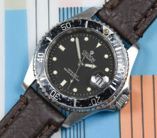 Vintage CROTON Automatic ETA. 2824 Stainless Steel Diver Watch Leather Band