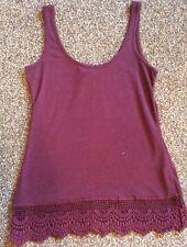 Wine Flecked Crochet Trim Casual Vest Top. Size 6, Dorothy Perkins