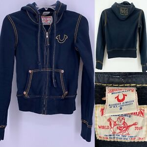 True Religion Kids Girls Sz S Full Zip Hoodie Sweatshirt Black / Navy Jacket