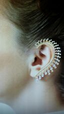 Gold Crystal Rhinestone Ear Cuff Wrap Clip On Earring Stud Punk Rock Ships Today