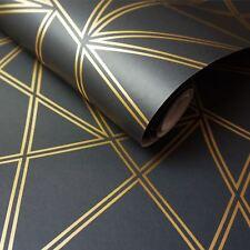 Paladium Papier peint Géométrique Noir/doré - Holden 90114 Metalique