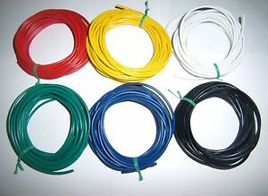 30' 18 Gauge AWG Ga Black Red Yellow White Green Blue Car Alarm Primary Wire 12V