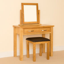 Newlyn Oak Dressing Table Set Hand Crafted Modern Table + Vanity Mirror & Stool