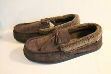 Isotoner Men's Brown Corduroy Moccasin Slippers Size XXL 13-14 Slipper Shoes