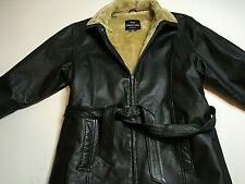 The Connection New York. Women's Leather Jacket.faux fur Lined with belt. Size M