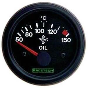 Racetech Oil Temperature Gauge 52mm diameter - Electrical Black Dial Face