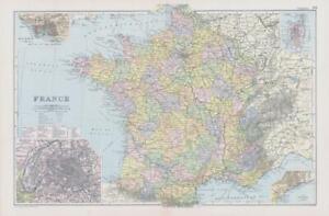 1898 Antique Colour Map FRANCE Corsica Paris Havre The Riviera Vendee (NGA12)