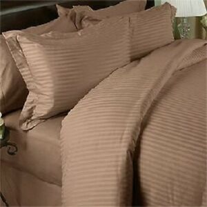 King Taupe Striped 4 Piece Bed Sheet Set 1000 Thread Count 100% Egyptian Cotton