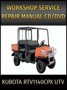 Kubota RTV1140CPX UTV Service Repair Manual on CD