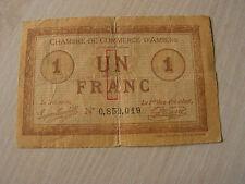 billet   1 francs  chambre de commerce   d'amiens