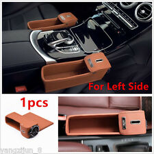 Brown PU Car Auto Seat Storage Box Catcher Gap Filler Coin Collector Cup Holder