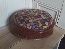 Antique Vintage Round Wooden & Inlaid Footstool with Embroidered Needlepoint Top