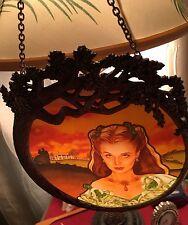 "1994 Bradford Exchange Pewter Framed GWTW Stain Glass ""Scarlett Radiance"" in Box"