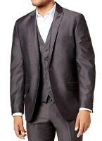INC Mens Royce Blazer Dark Gray Size L Sharkskin Slim-Fit Peak-Lapel $79 047