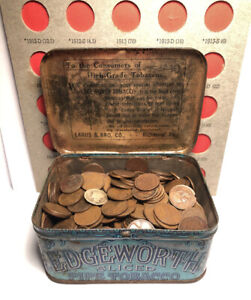 2.5 lbs. Early Wheat & Indian Pennies in Old Edgeworth Tobacco Tin Coin Lot