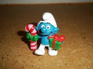 """Vtg. Christmas Smurf. 2"""" Peyo 1980s"""