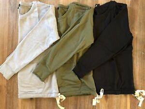 J. Crew Women's Crew Neck Pocket Sweatshirt in Cloud Fleece - Gray Black Olive -