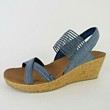 Skechers Women's CALI Beverlee Sandals Wedge Heel Blue Back Strap Size 9