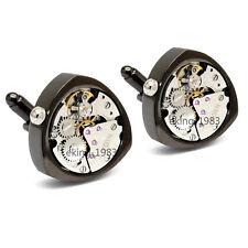 Herren Manschettenknöpfe Schwarz Cufflinks Steampunk Uhrwerk beweglich Edelstahl