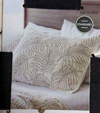 New Off White Pillow Sham w/ Dark Gray Fern Floral Pattern 20x26 Cotton