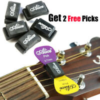 5Pcs Alice Guitar Picks Plectrum Holder Case Rubber Headstock + 2 Free picks