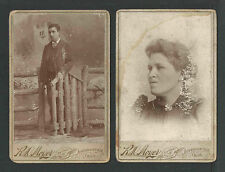 1800s Man + Woman Husband & Wife x 2 Cdv Photo by Moyer Jeffersonville Ohio