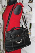 Grandes Trachten-bolsa de piel negro con bordado Hirsch cuero-bolsa