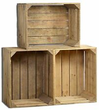 3 Set Vintage Holzkiste Ebay - alte Obstkiste - Weinkiste - Natur Used Look