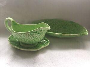 Cabbage Leaf Green Gravy Sauce Jug Boat Saucer Dish Bowl Vintage England