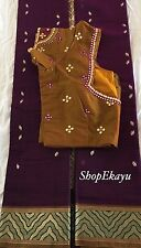 Indian/Pakistani Ethnic Ready To Wear Gadwal Saree with Mirror work blouse