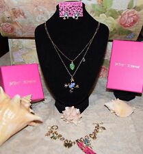 3 PC BETSEY JOHNSON GORGEOUS DOUBLE FROG NECKLACE FROG EARRINGS FROG BRACELET