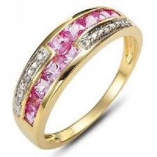 Anillo circonitas rosas talla 8 usa con oro amarillo laminado 18 kt
