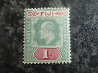 FIJI POSTAGE & REVENUE STAMP SG112 1/- GREEN & CARMINE LIGHTLY MOUNTED MINT