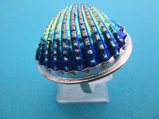 Silver Plated Ring With Real Shell, Beautiful Jewellery UK P, US 7.75 (rg2709)